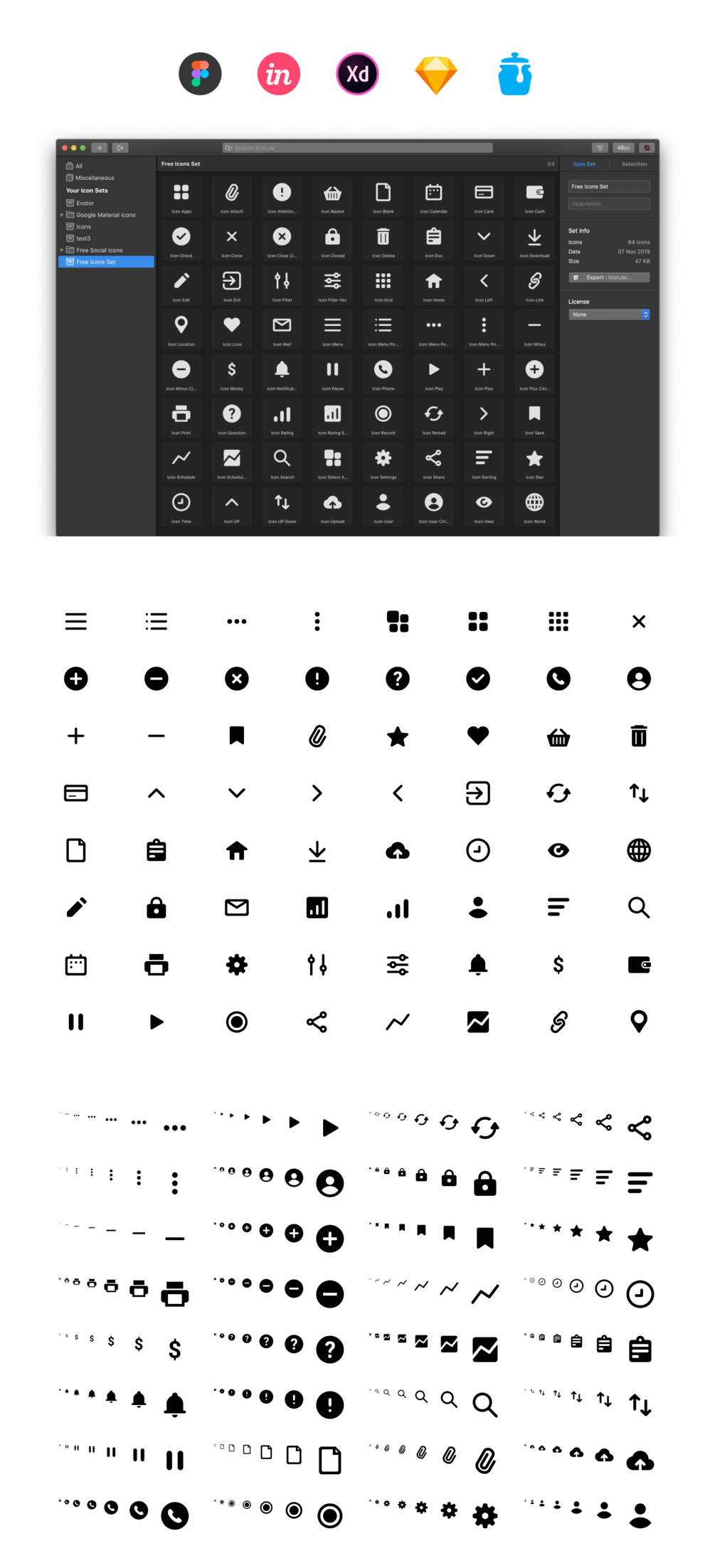 64个免费基本元素图标插图