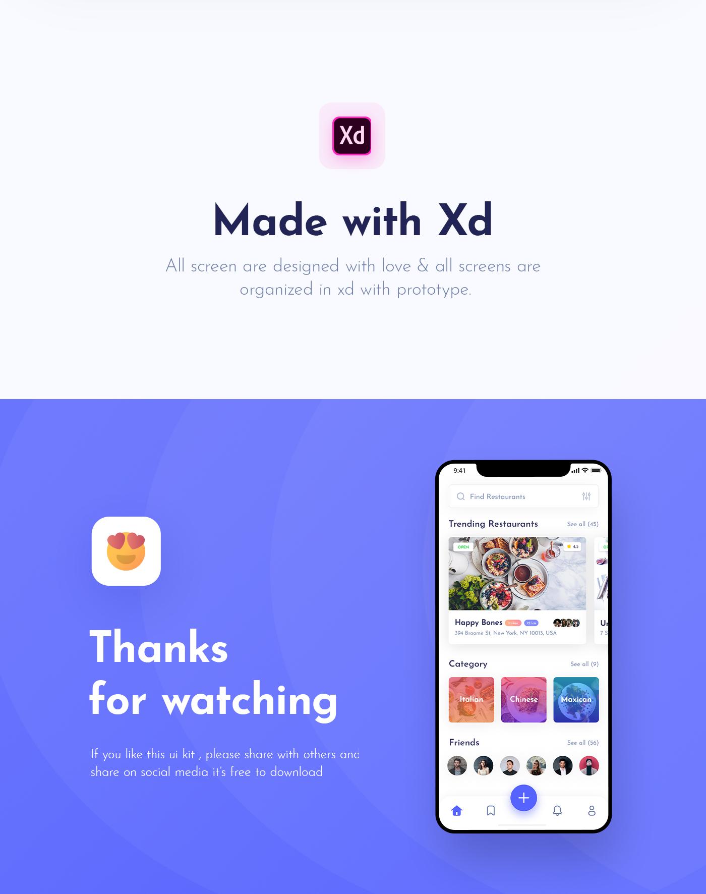 Foodybite-免费美食餐厅主题APP用户界面UI工具包插图7