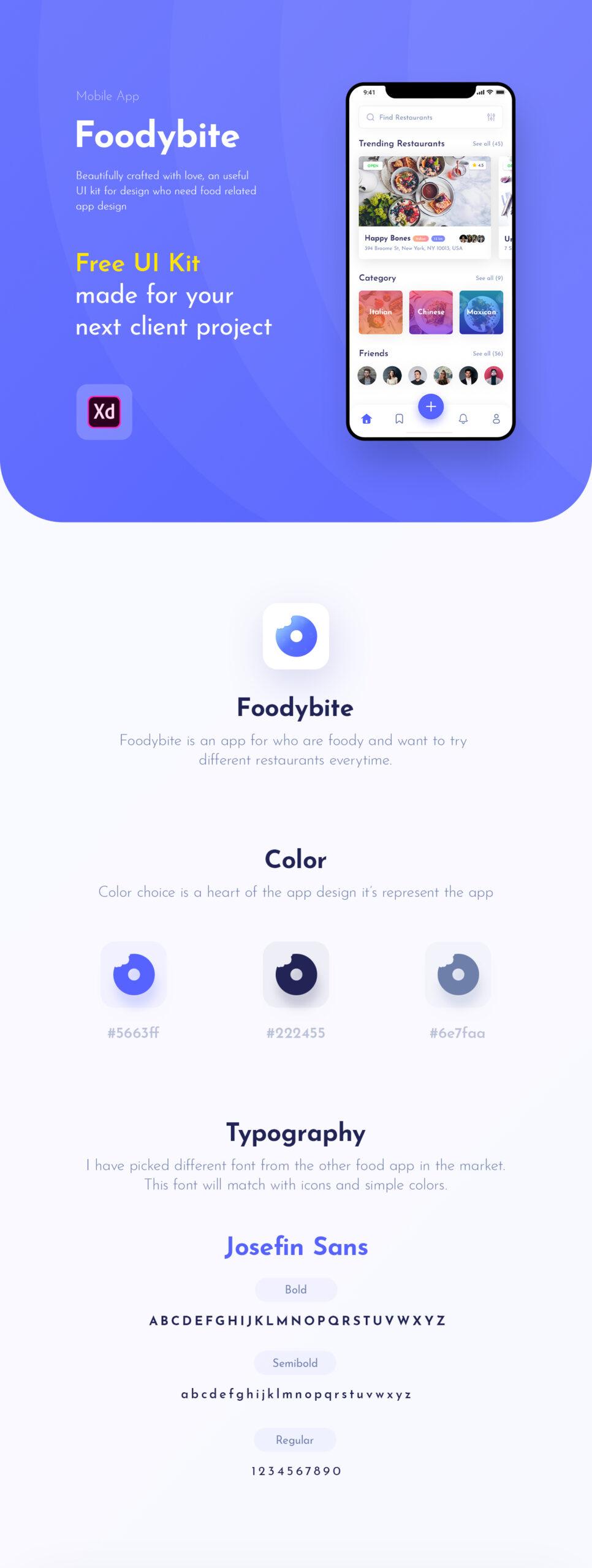 Foodybite-免费美食餐厅主题APP用户界面UI工具包插图