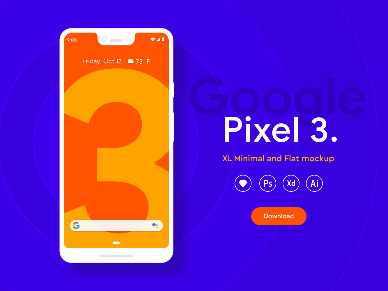 Google Pixel 3 XL手机偏平风样机插图