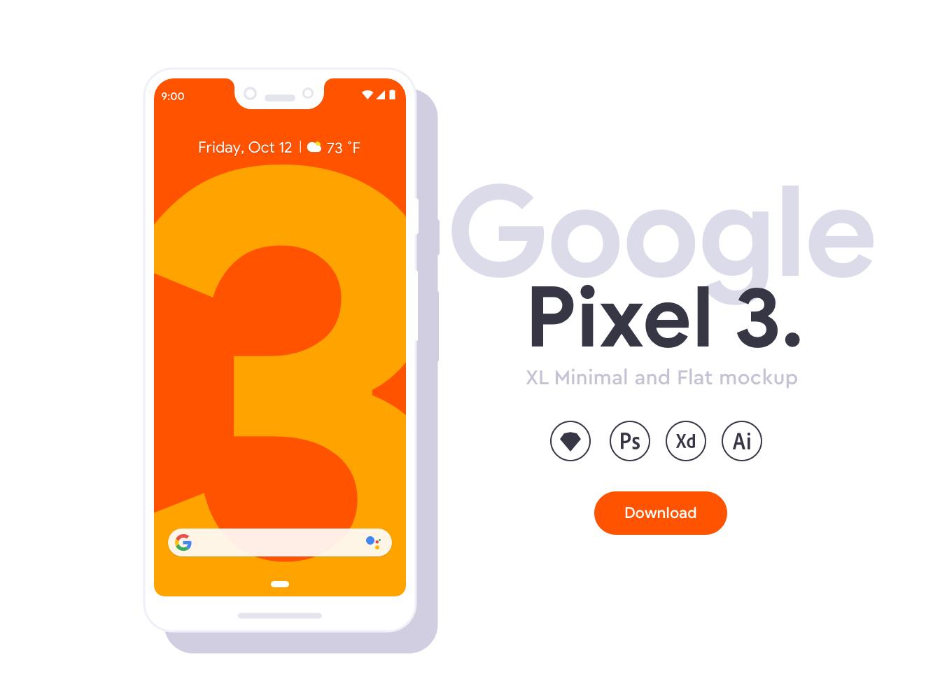 Google Pixel 3 XL手机偏平风样机插图1