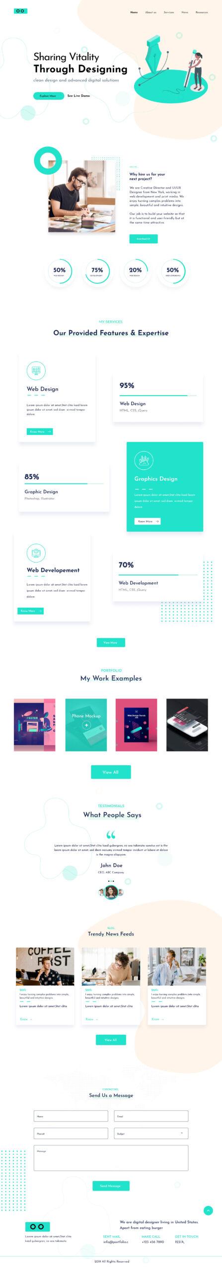 创意设计代理网站着陆页设计模板插图