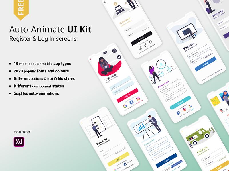 注册和登录屏幕界面设计UI套件插图