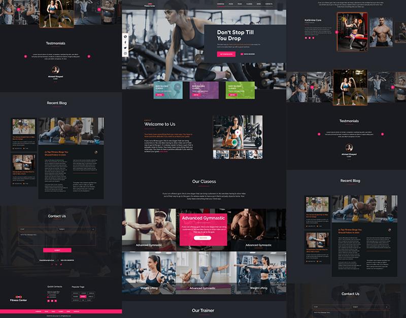 运动健身网站设计模板插图