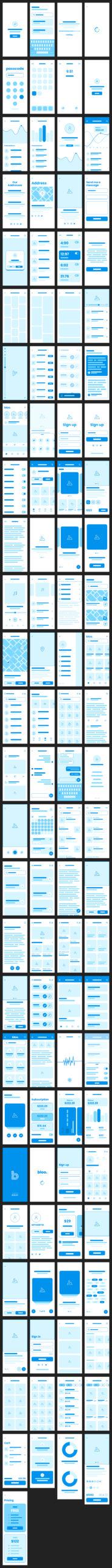 Bloo免费APP设计线框图UI套件插图
