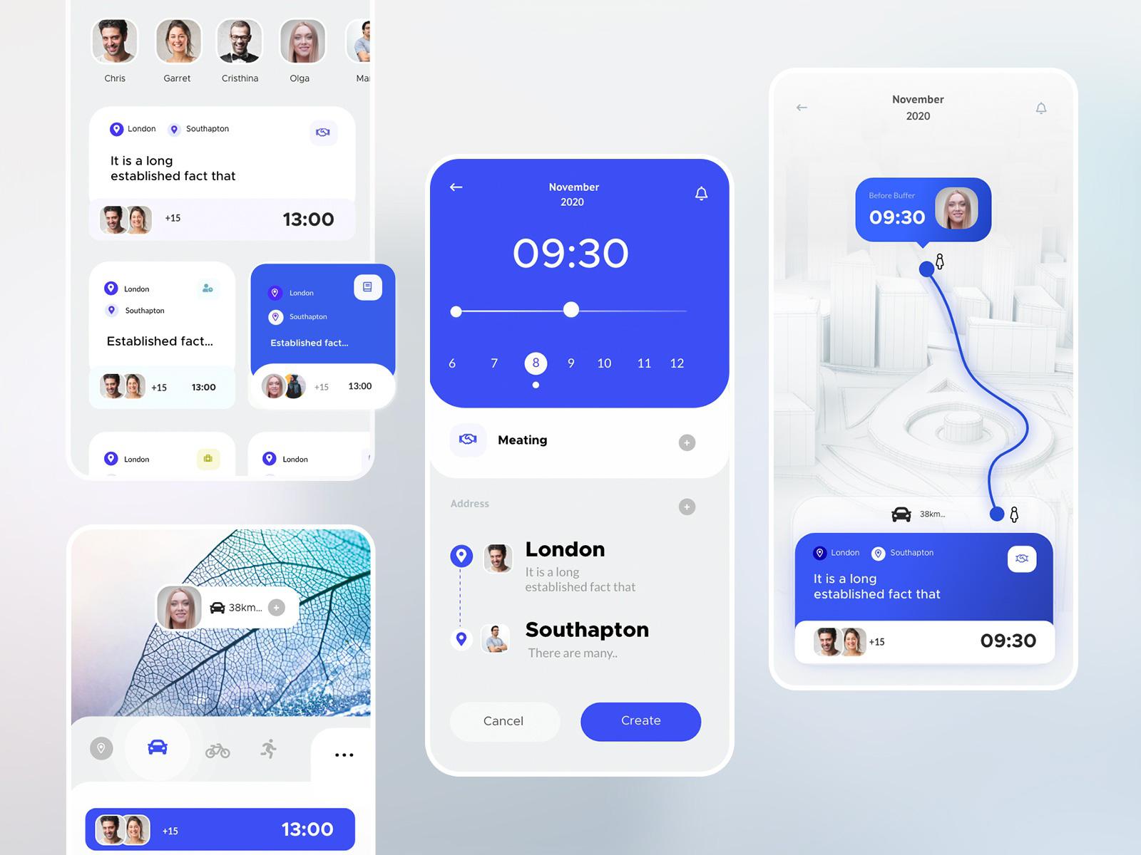 日历约会App应用程序界面设计模板插图