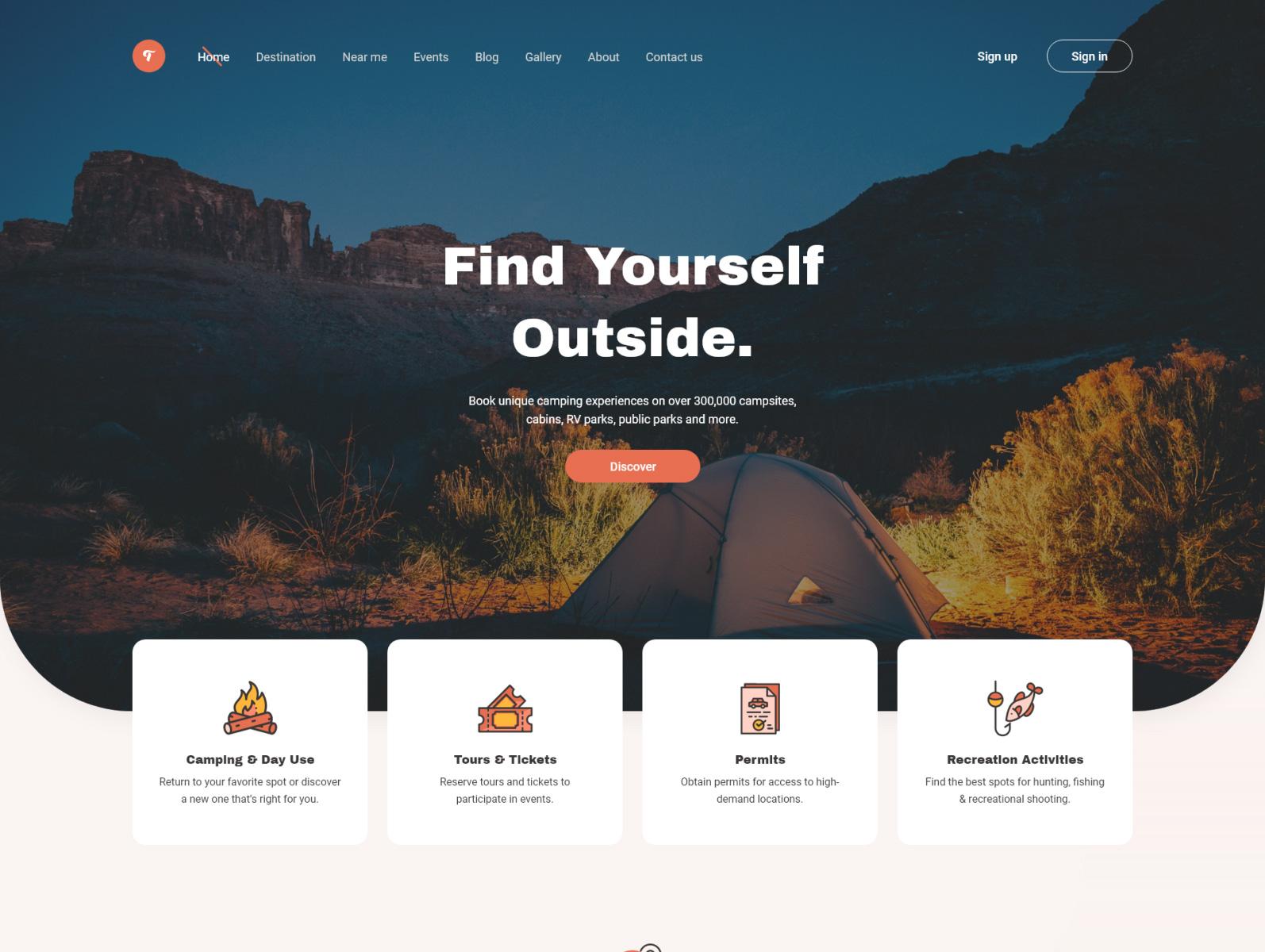 露营网站着陆页设计模板插图1