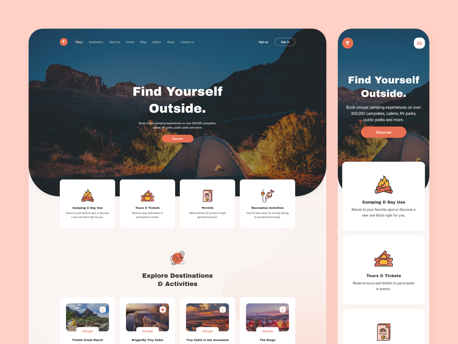 露营网站着陆页设计模板插图