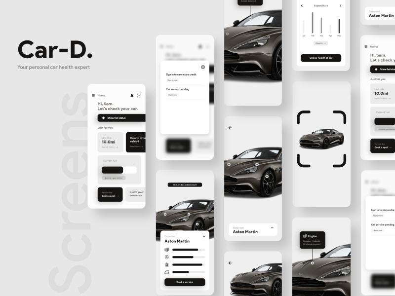 汽车健康检查应用程序概念UI套件插图