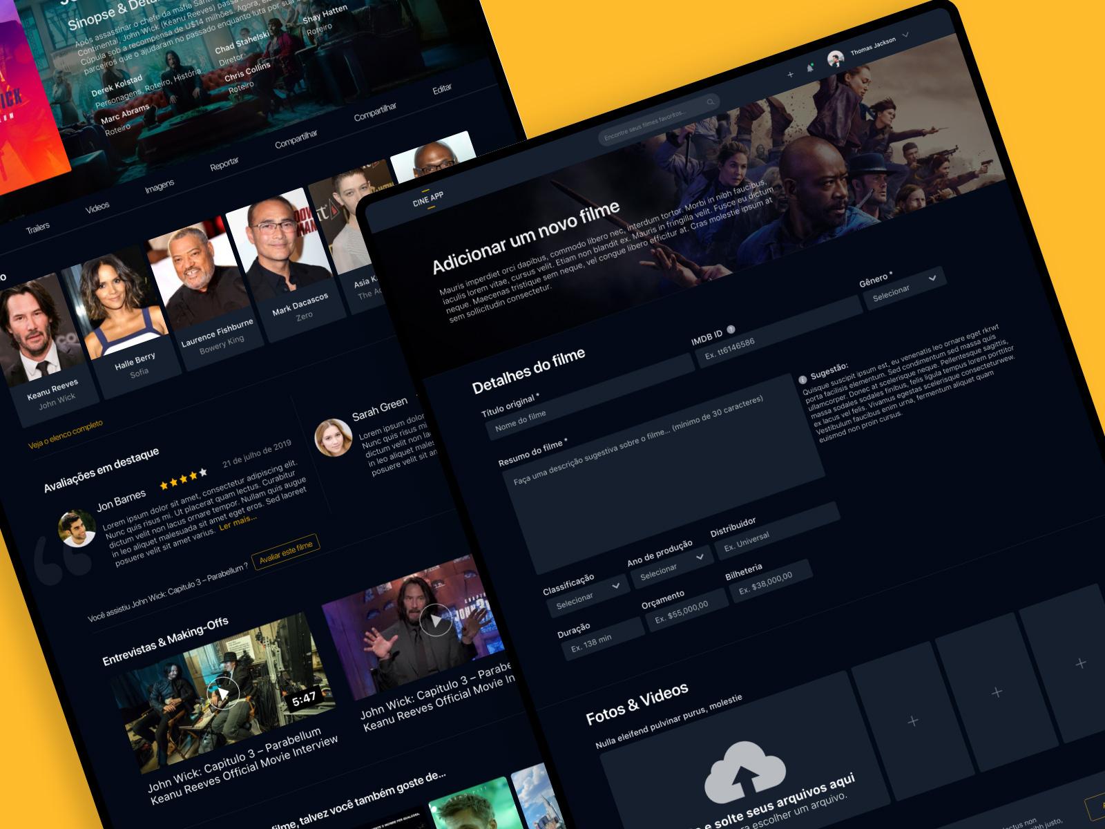 电影列表和评论网站页面应用程序概念设计模板插图