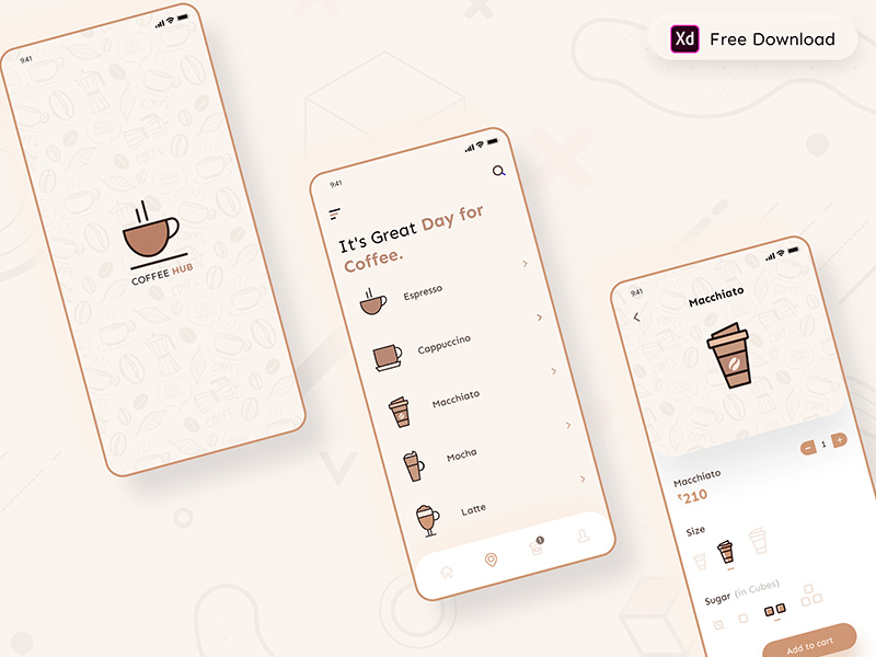 咖啡厅App应用程序界面设计模板插图
