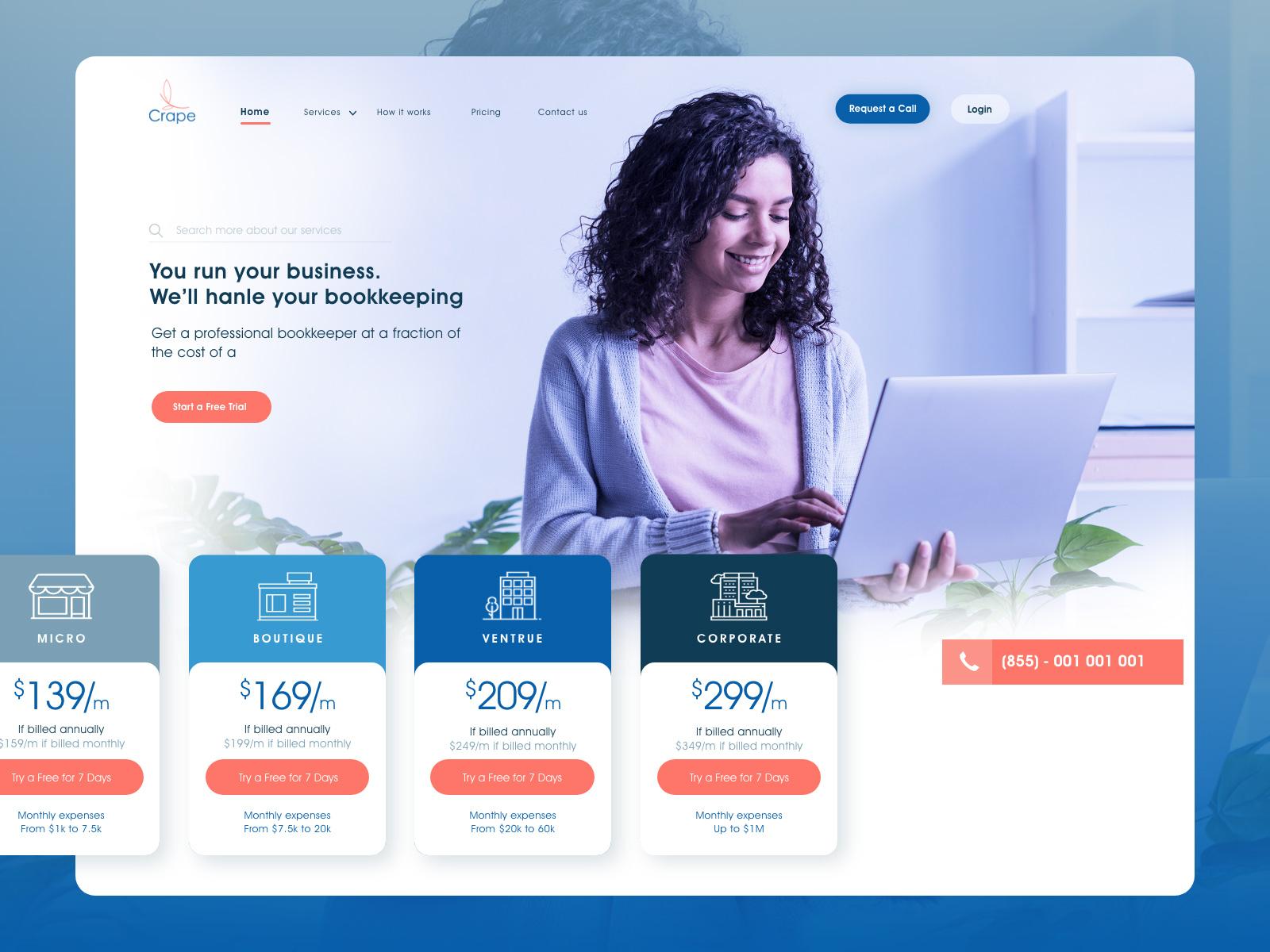 会计网站界面设计模板插图
