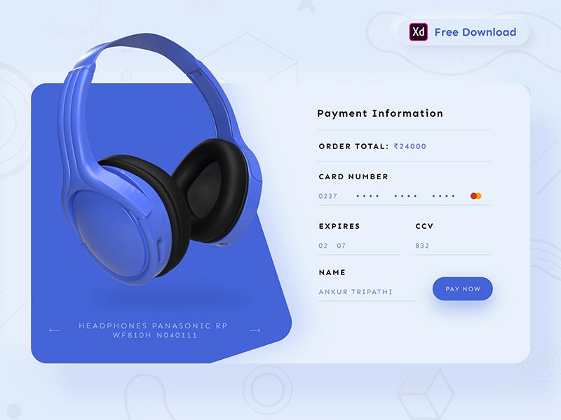 信用卡结账页面设计XD模板插图