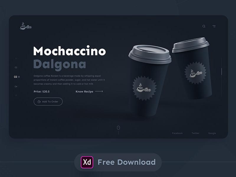 暗黑主题咖啡网站着陆页XD模板插图