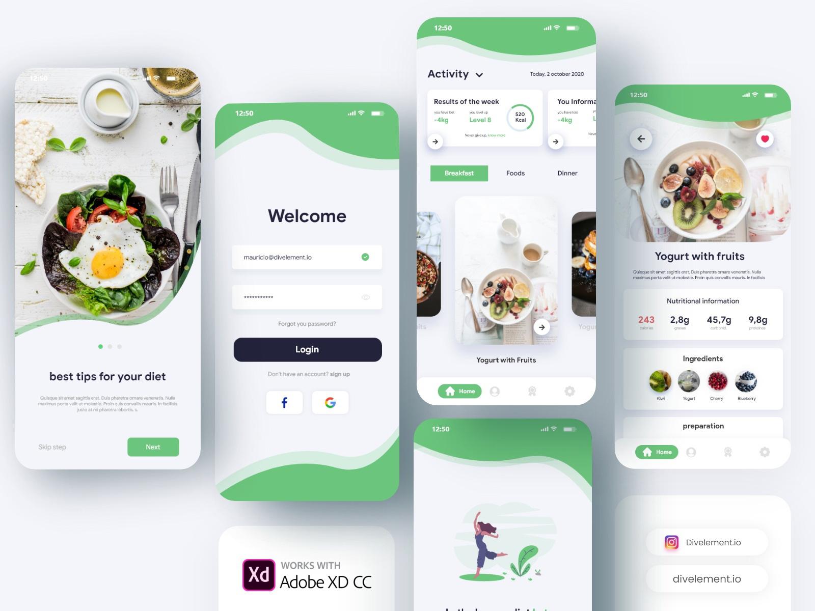 饮食计划应用程序概念UI模板插图
