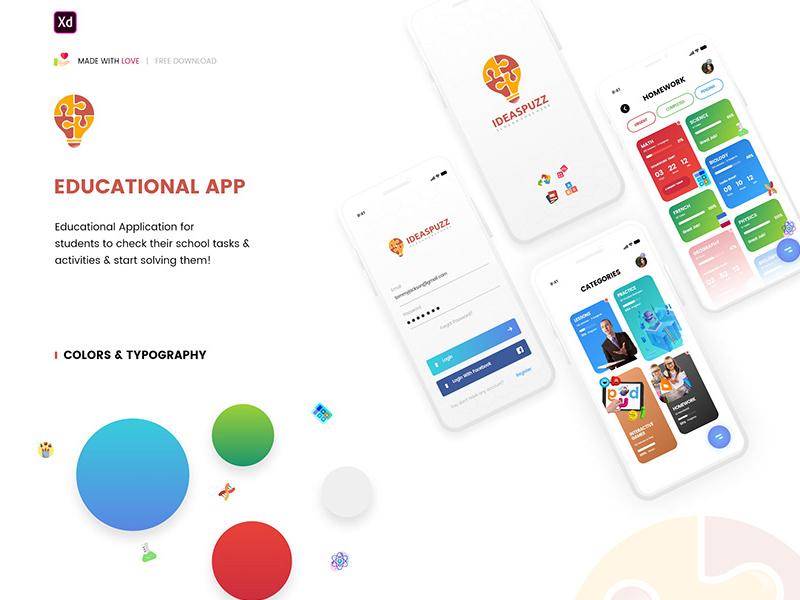 学习教育应用程序用户界面设计模板插图