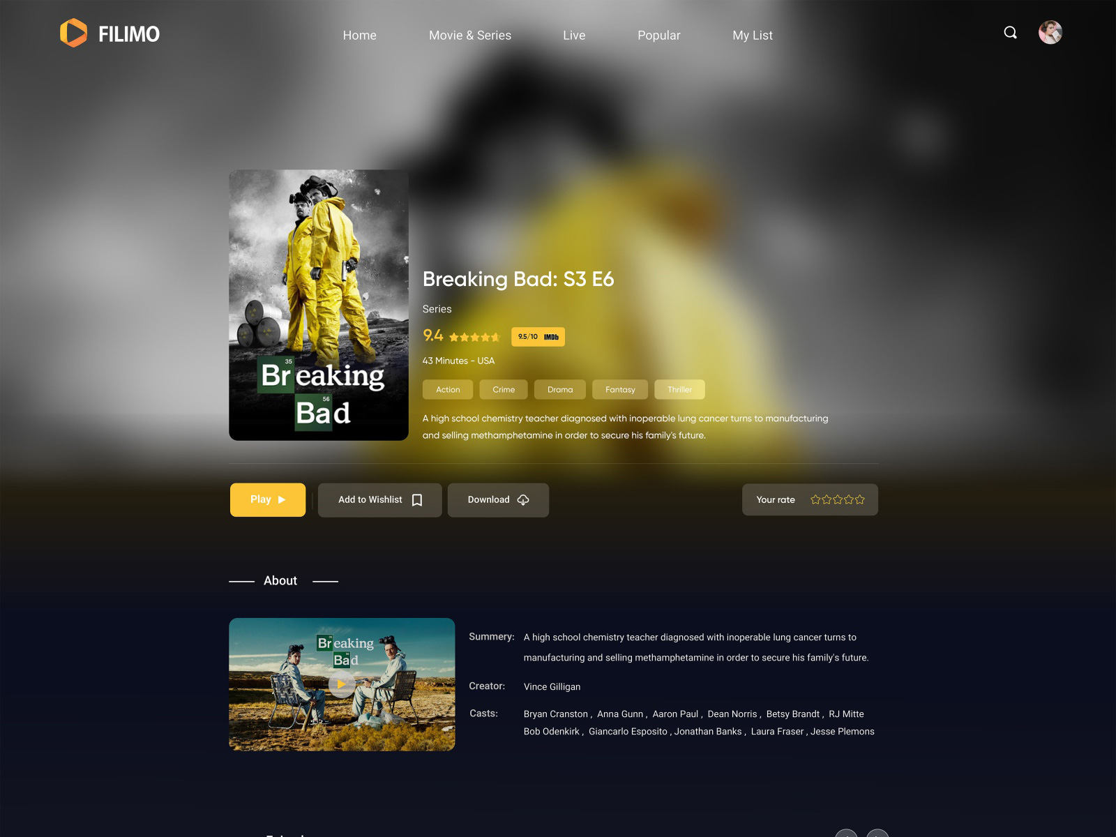 电影流媒体网站着陆页设计模板插图1