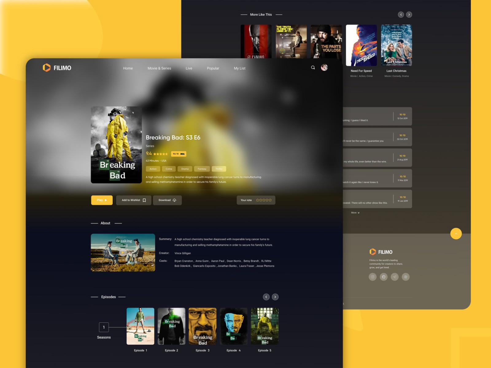电影流媒体网站着陆页设计模板插图