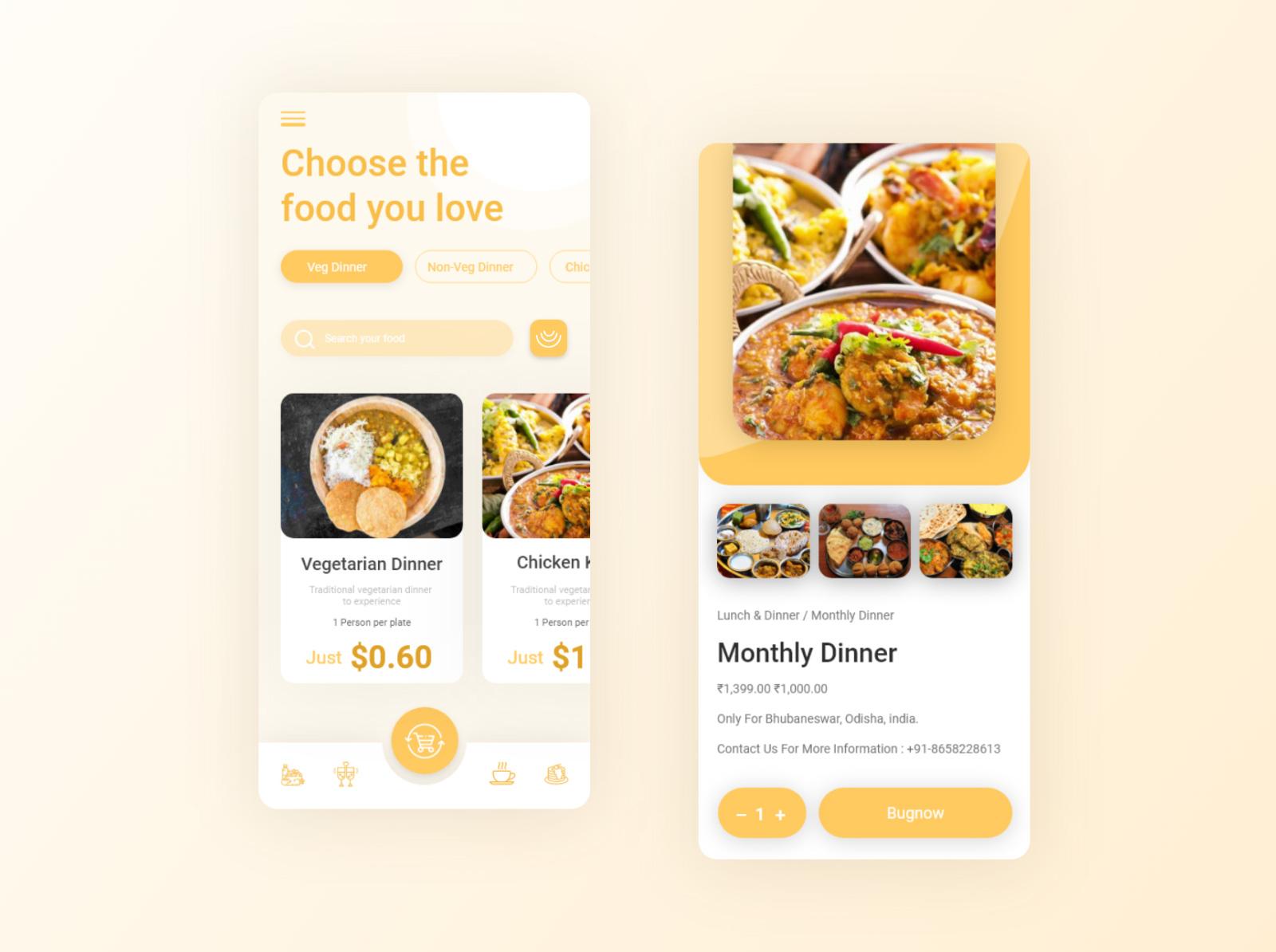 美食应用程序概念设计套件插图