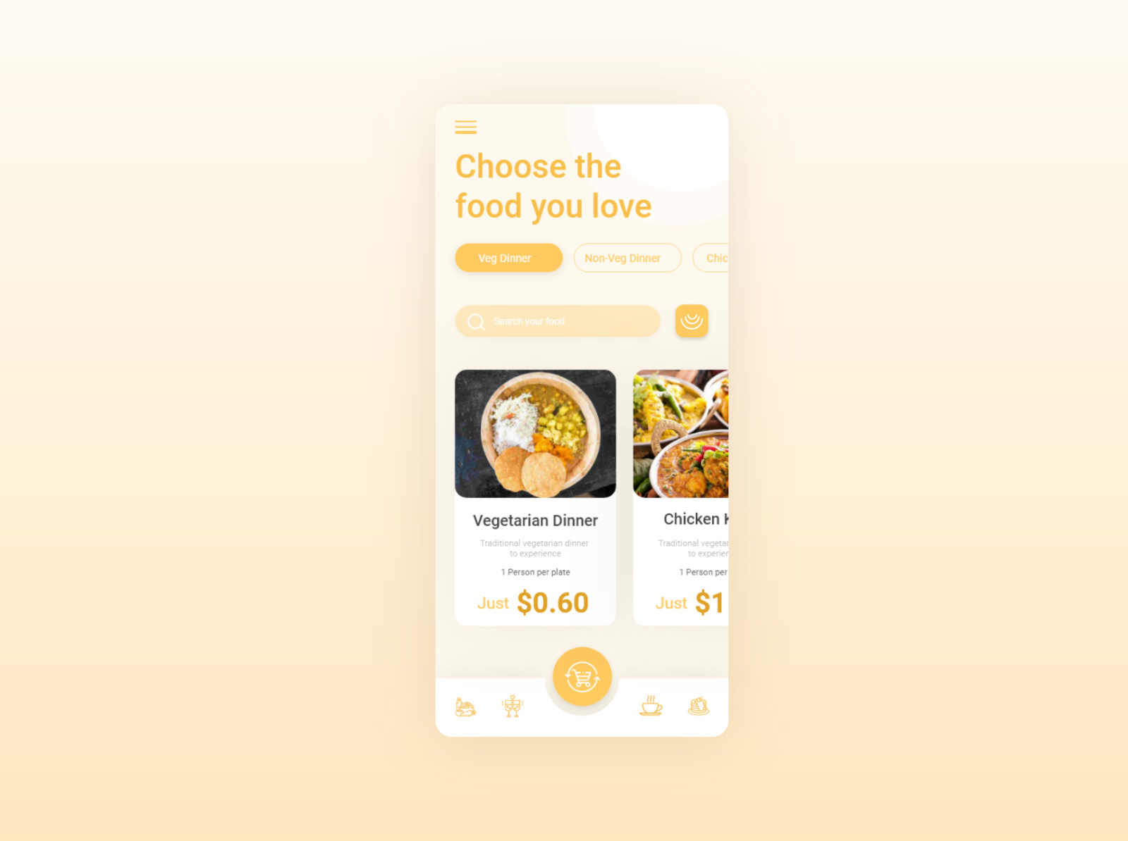 美食应用程序概念设计套件插图1