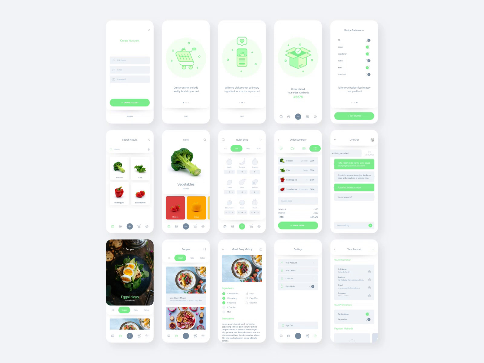 新鲜食物App设计用户界面UI套件插图