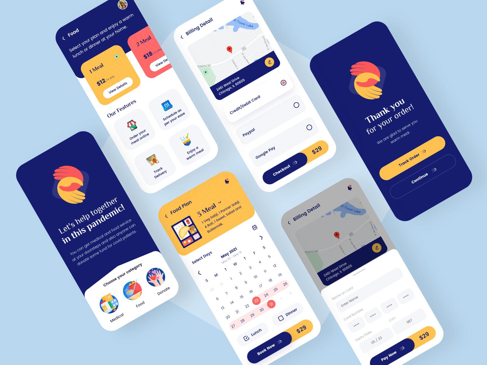 筹款慈善App应用程序概念设计模板插图