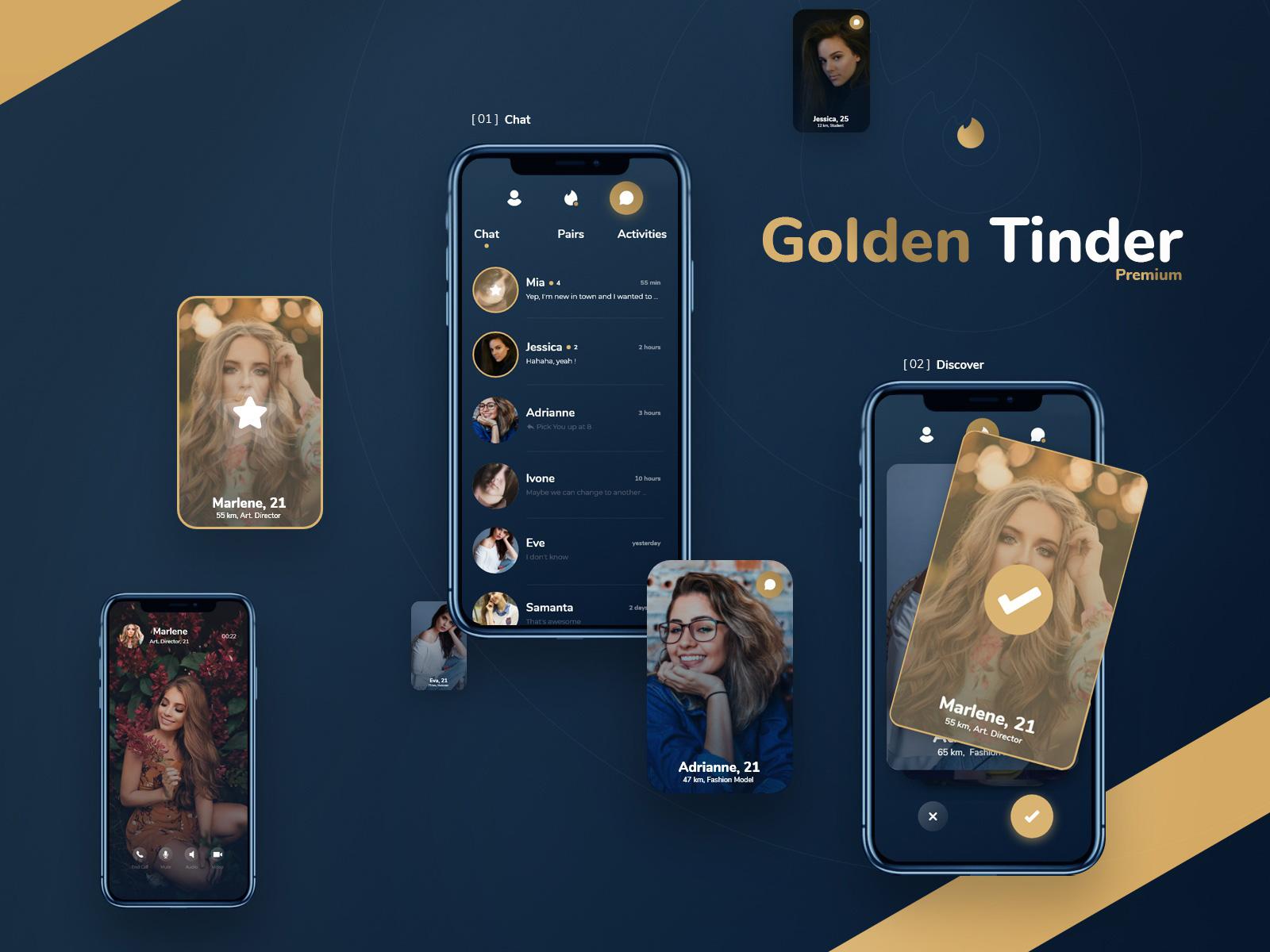 金色约会App应用程序设计模板插图