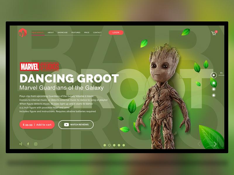 格鲁特玩具电子商务网站着陆页模板插图