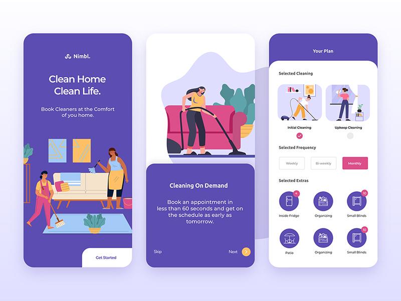 家庭清洁手机应用程序界面设计套件插图