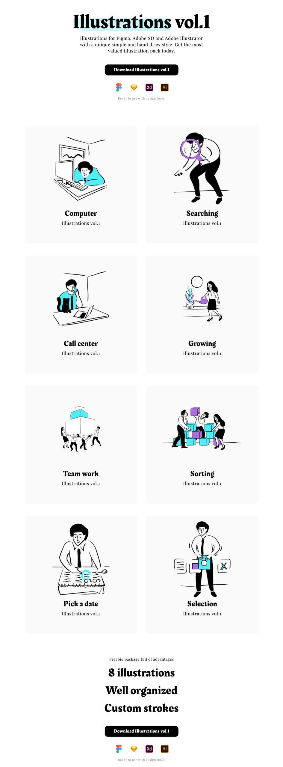 搬砖人概念插画v1 Illustrations vol.1插图