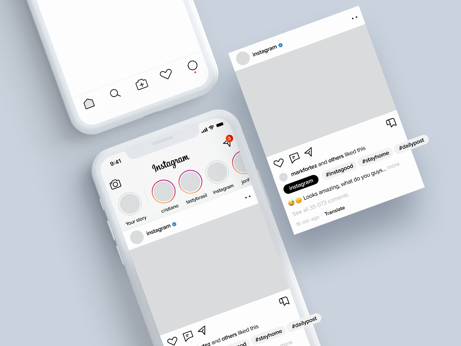 Instagram应用页面设计概念模板插图