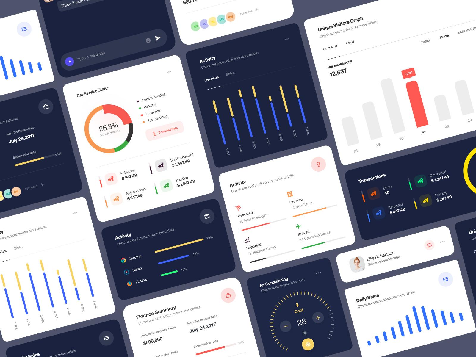 数据界面设计元素工具包插图