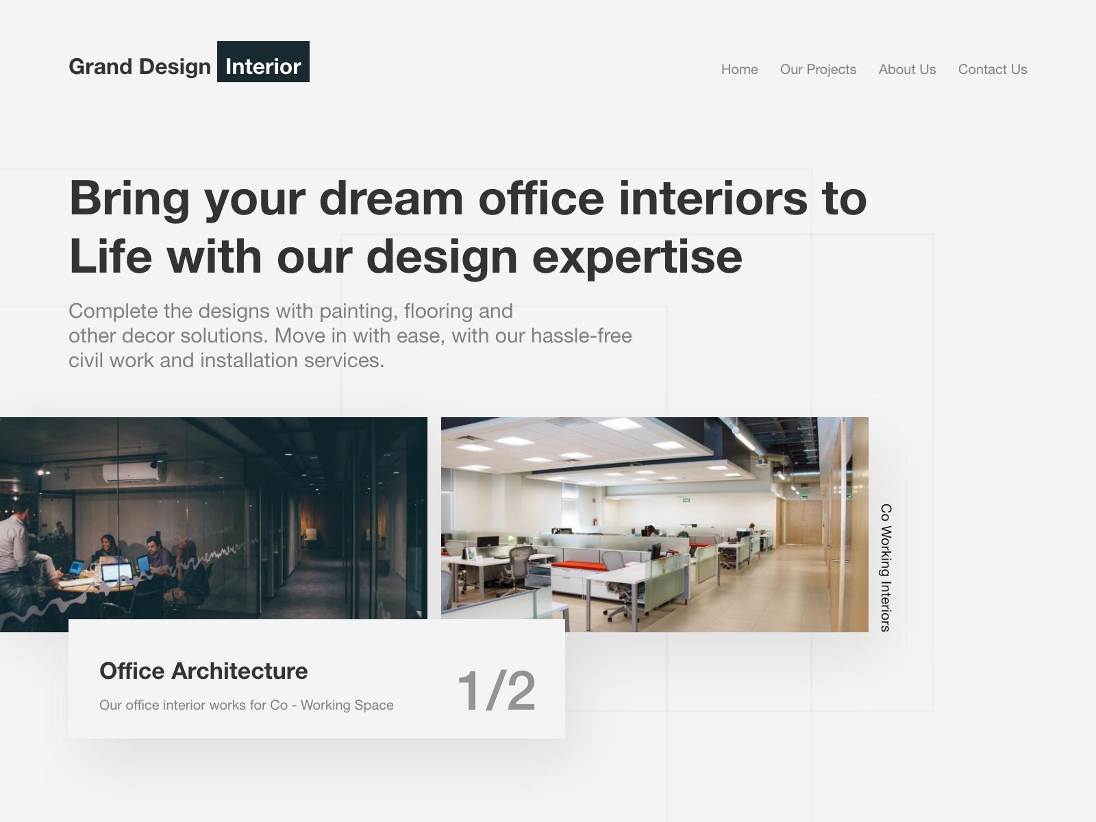 室内设计网站着陆页模板插图