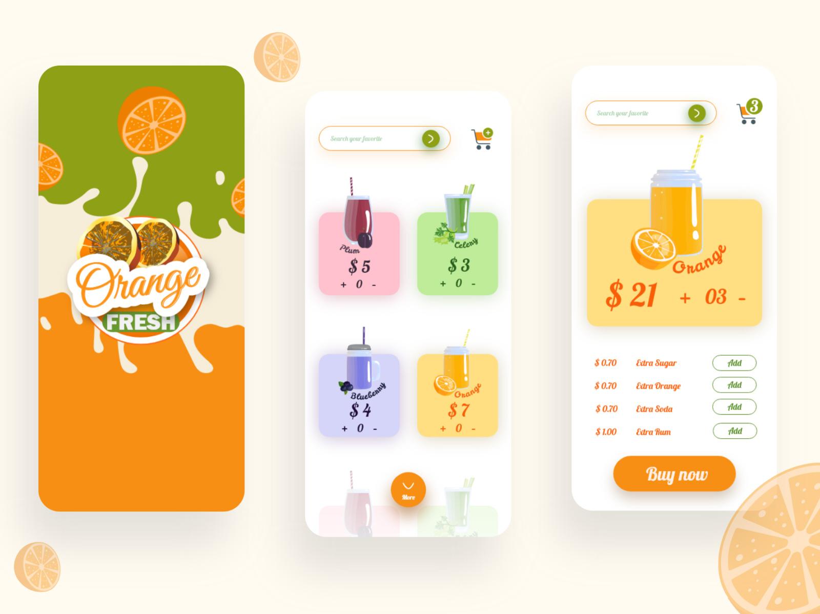 果汁商店应用程序界面设计模板插图