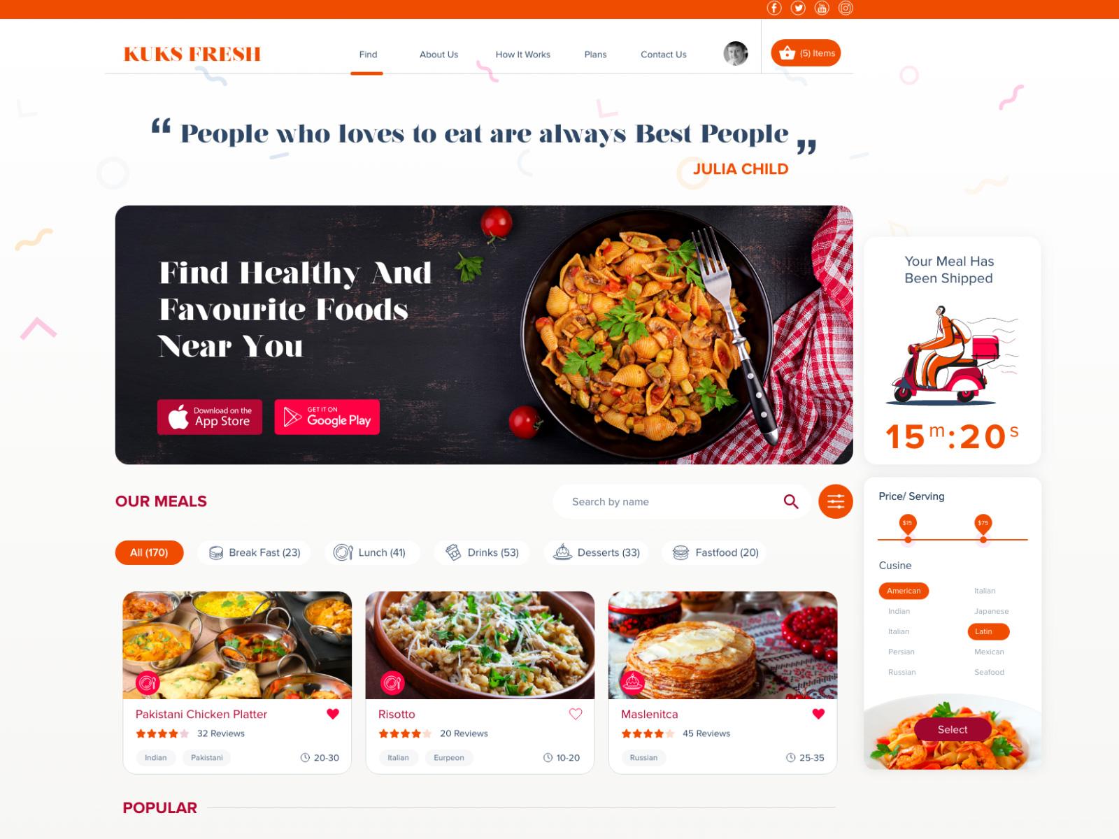 健康食谱网站页面设计模板插图