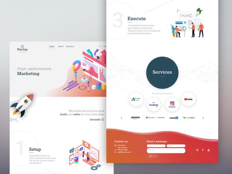 营销业务网站着陆页模板插图
