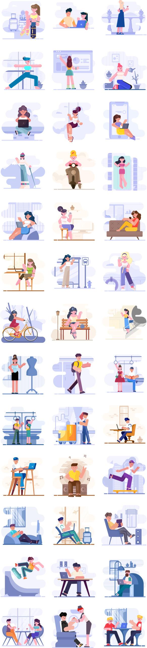 Loomies-39个免费人物矢量插画素材 Loomies – 39 Free Illustrations插图