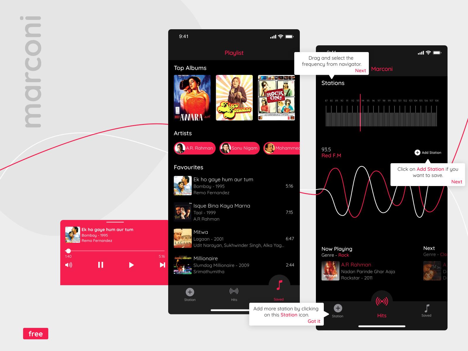 80年代主题无线电广播App应用程序界面设计模板插图