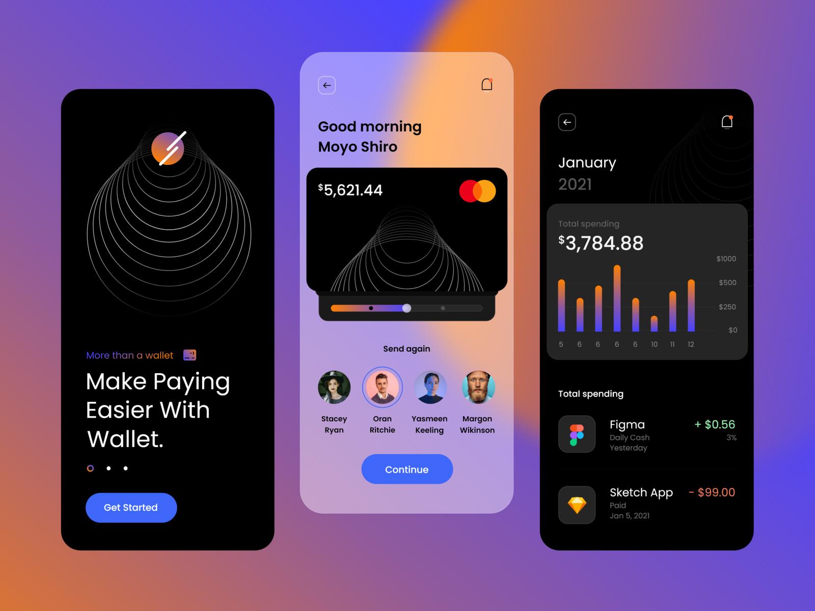 手机移动支付应用概念用户界面设计模板插图