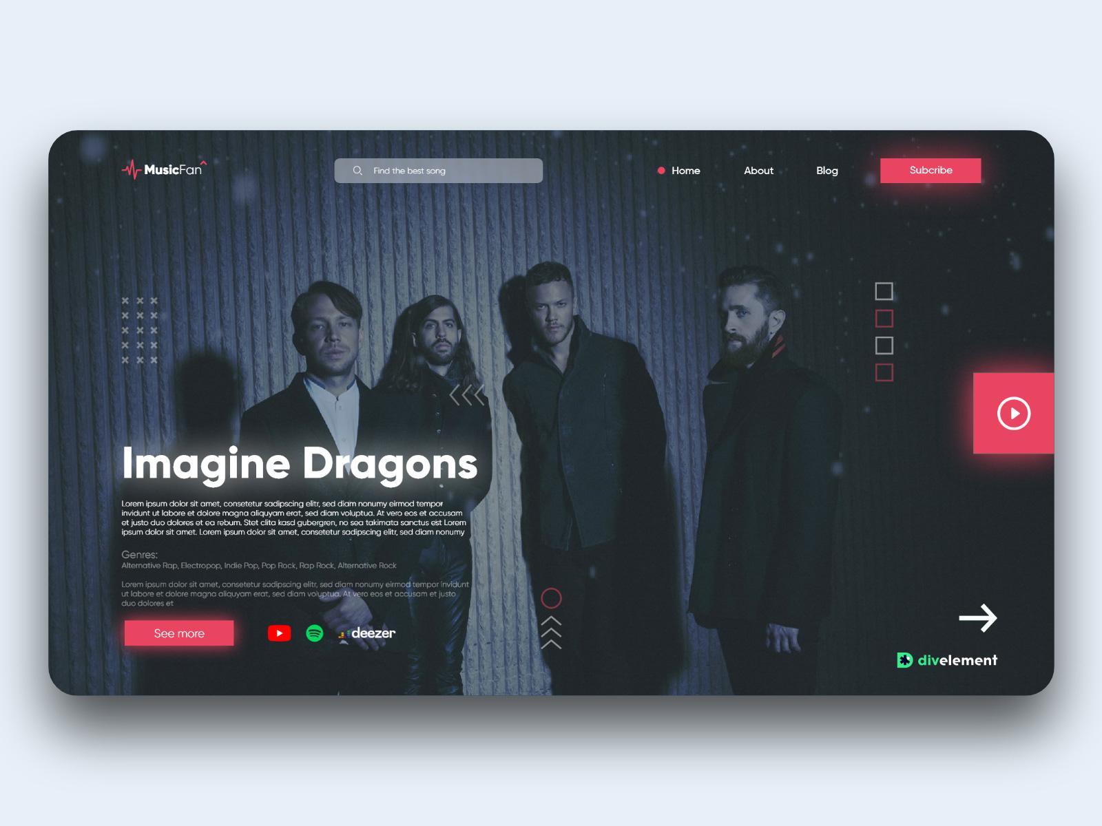 音乐概念网站设计模板插图1