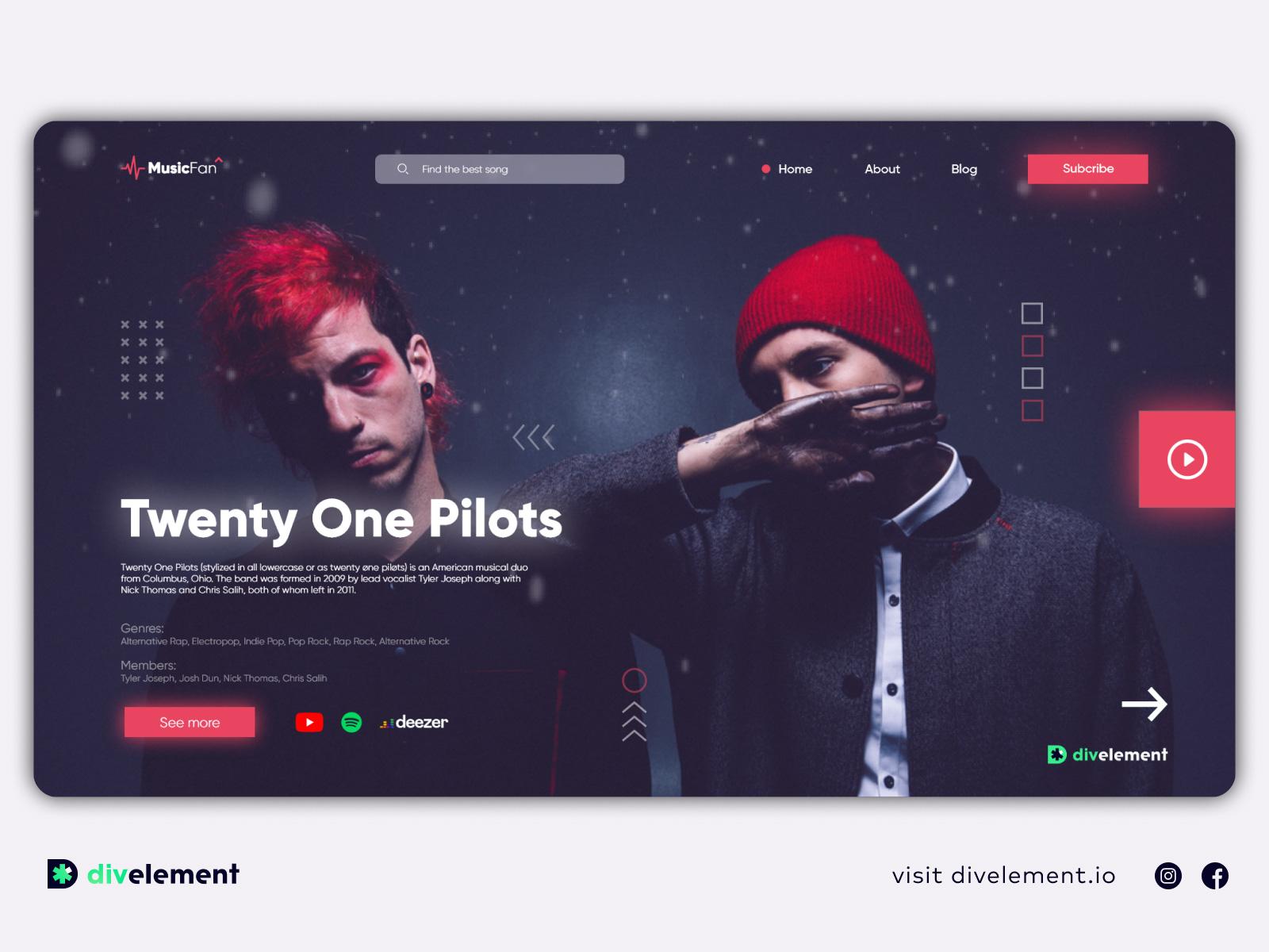 音乐概念网站设计模板插图