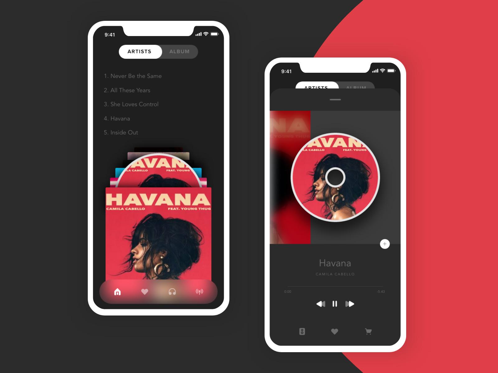 音乐播放器App应用程序界面概念设计模板插图