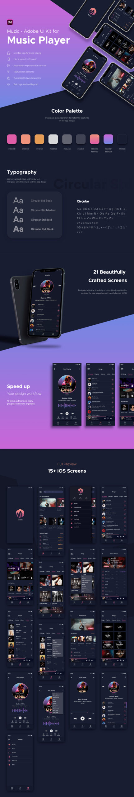 Muzic-免费音乐APP用户界面套件插图
