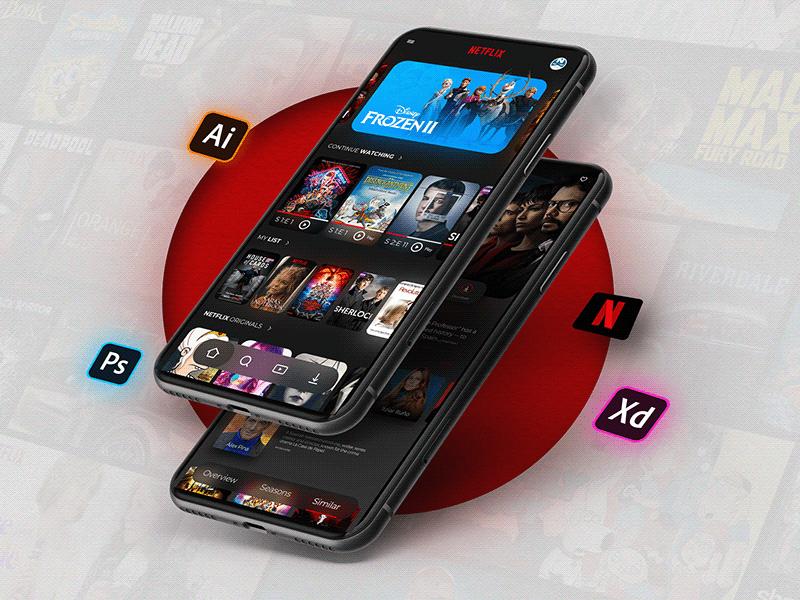 Netflix电影流媒体应用程序UI套件插图
