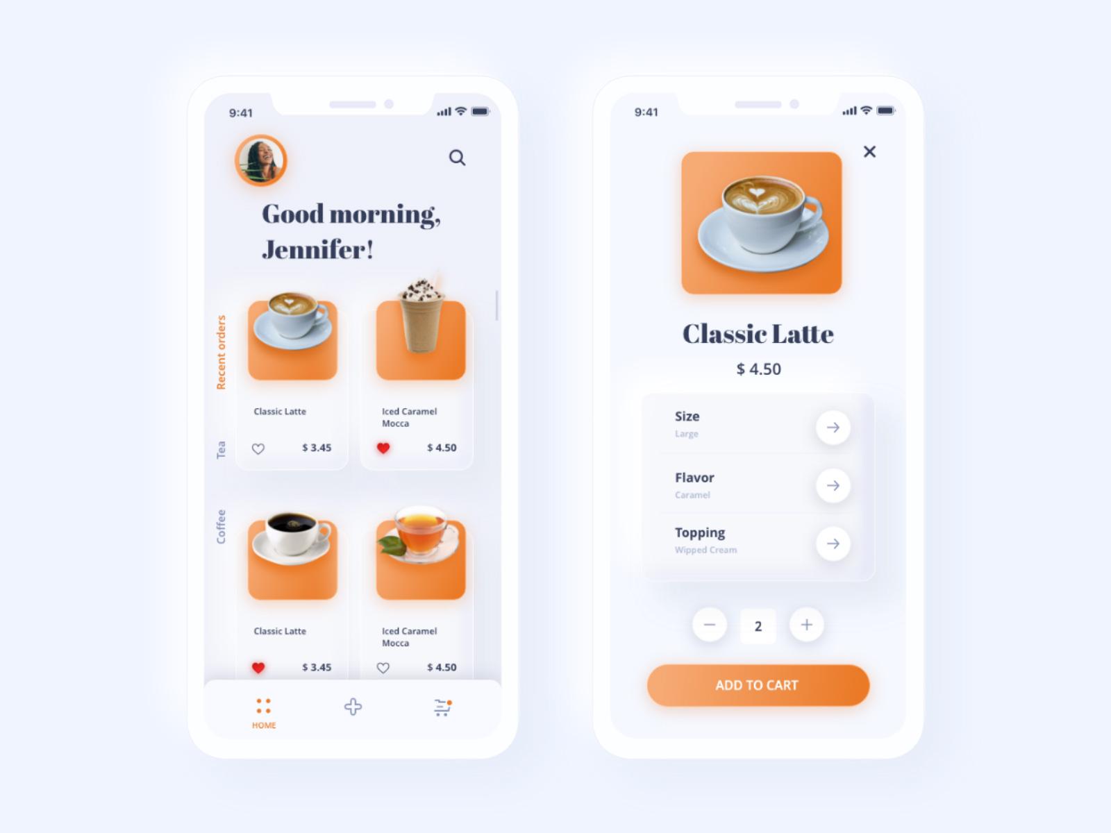 咖啡和饮料App应用程序界面设计UI模板插图