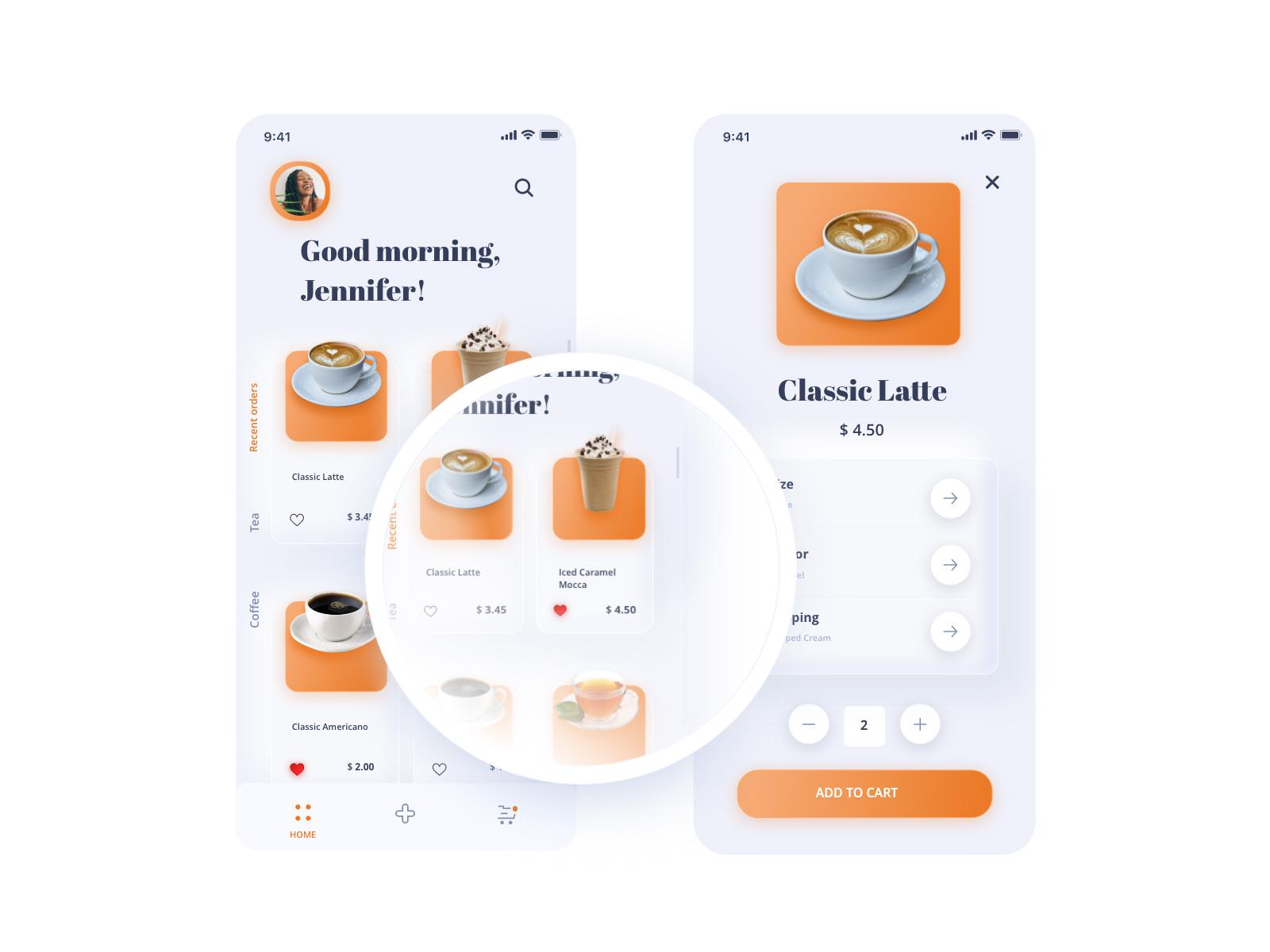 咖啡和饮料App应用程序界面设计UI模板插图1