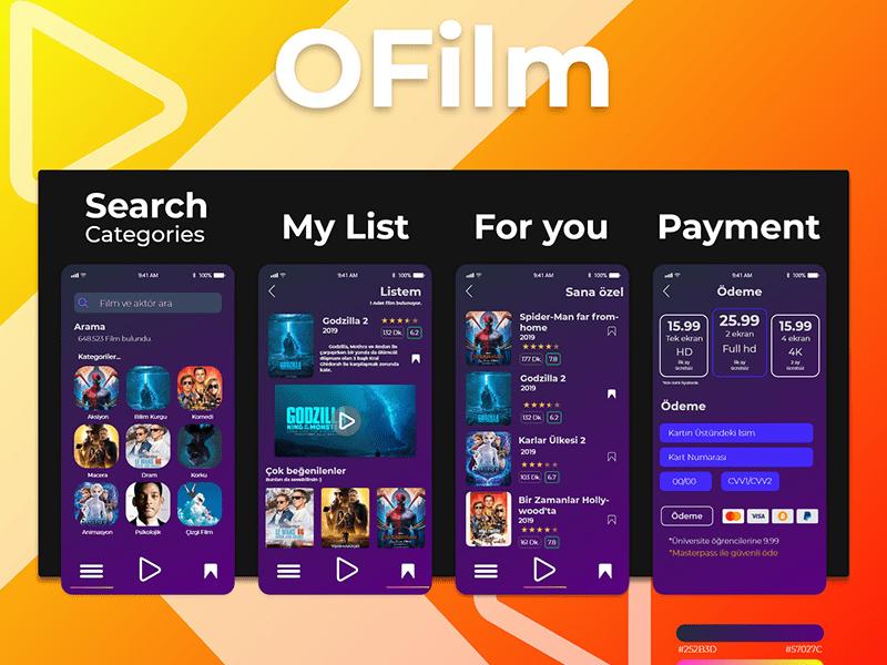电影票券应用程序应用界面设计套件插图
