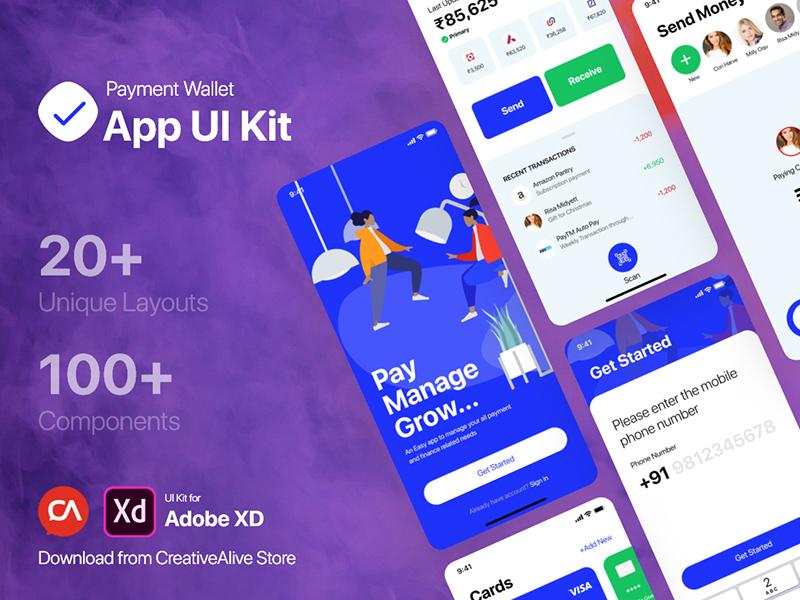 钱包App应用程序XD套件–免费资源插图