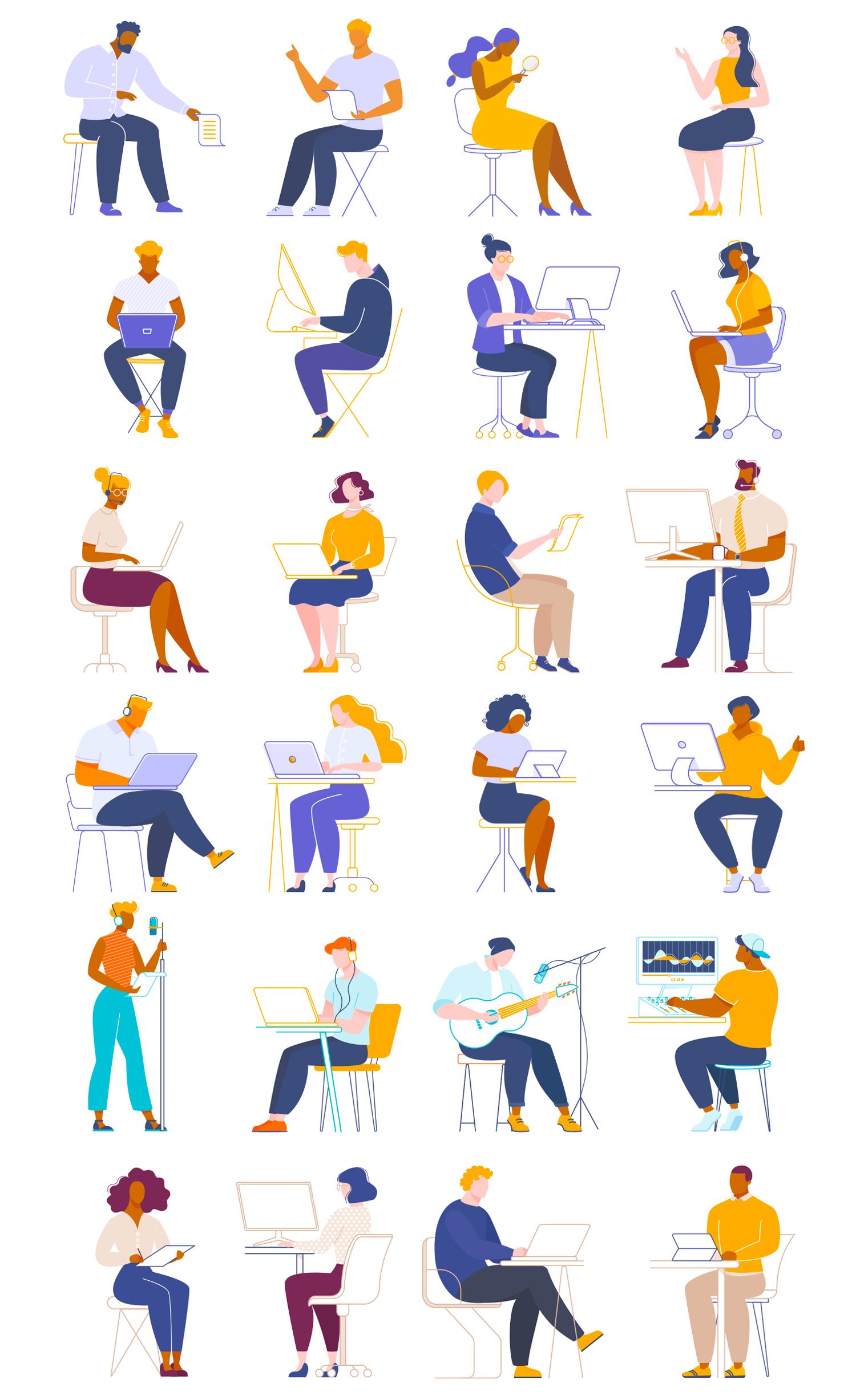 工作&协作主题矢量插画 People Working Collaborating Illustrations插图