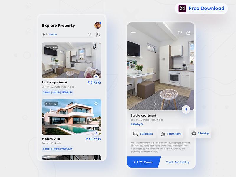 房地产移动应用程序界面UI套件插图